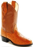 OR9117  Children's Old West Cognac Ostrich Print Cowboy Boot